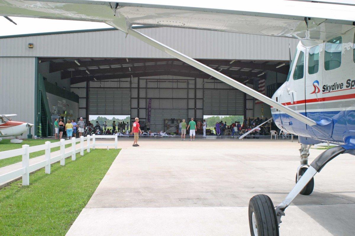 Front of the main hangar