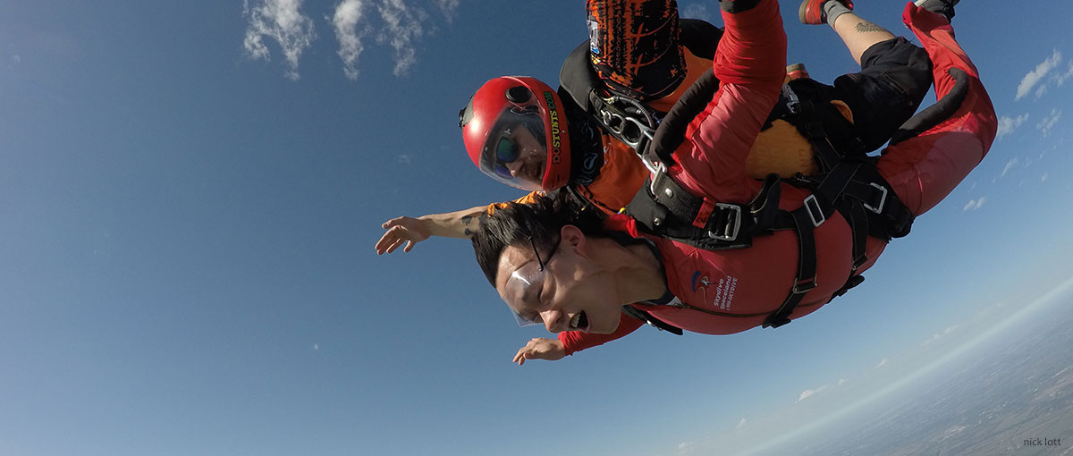 Tandem skydiver in freefall