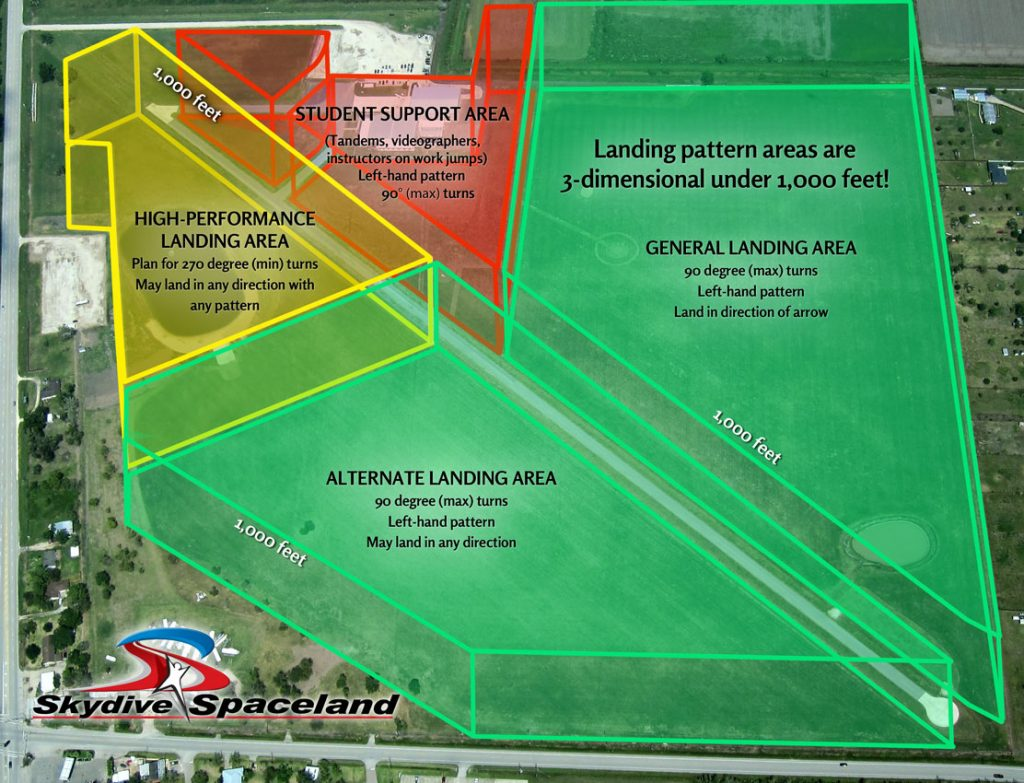 Skydive Spaceland Houston Landing Areas 3-D