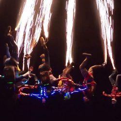 Night jump with pyrotechnics